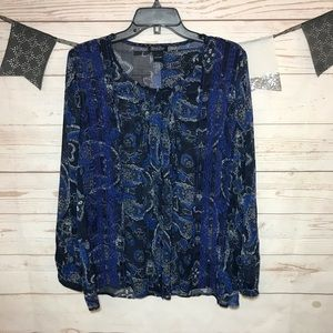 Lucky Brand Paisley Embroidered Sheer Blouse L
